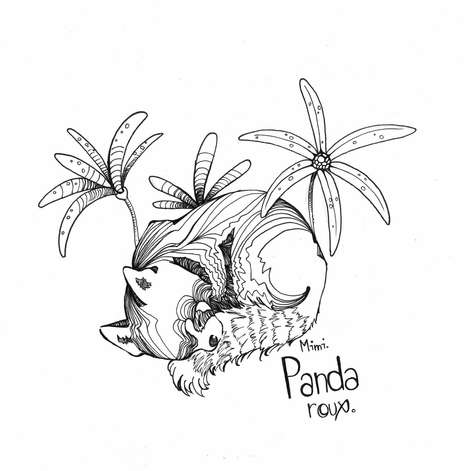 Mimidraw poissons zombies - Coloriage panda roux mandala ...
