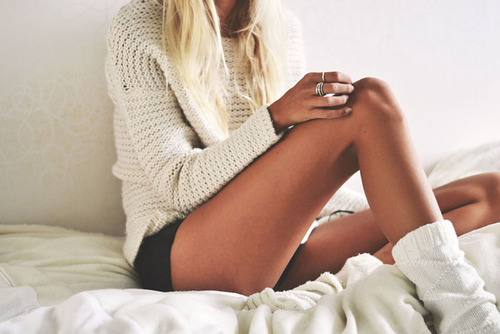 blonde white knitted sweater and white socks
