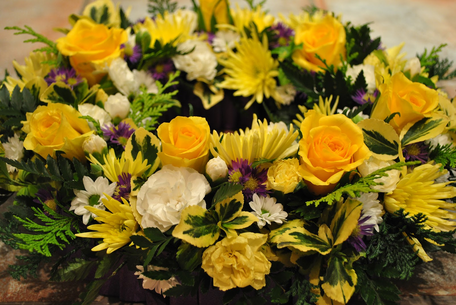 Lucys flower studio november 2011 this is a wreath i did for my grandad roys funeral i used yellow roses spray chrysanths and carnations with white spray chyrsanths and carnations and izmirmasajfo