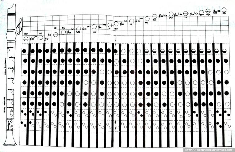 Flauta NOTAS Posicin de dedos  CURSOS DE GUITARRA