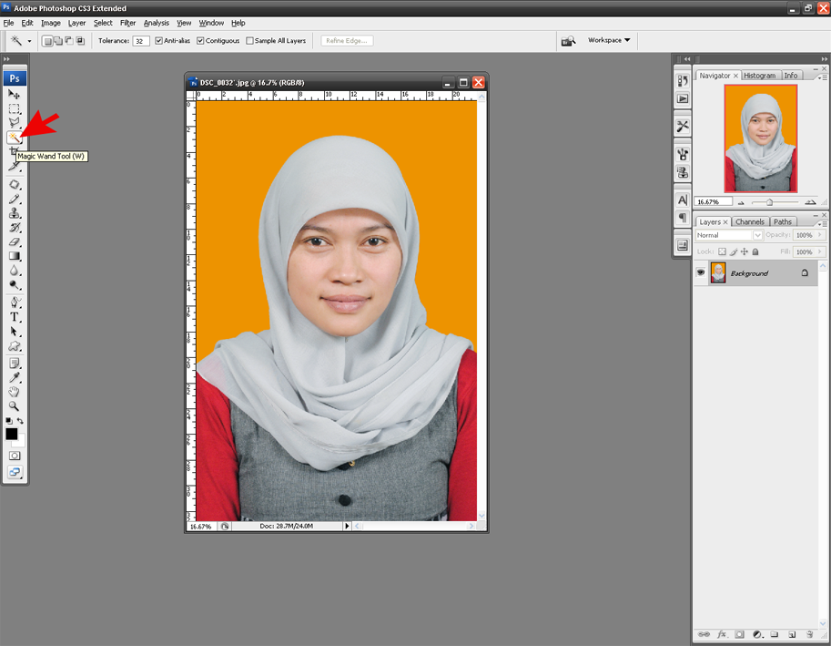 Mengganti Background Foto dengan Magic Wand Tool | Bas-studio.com