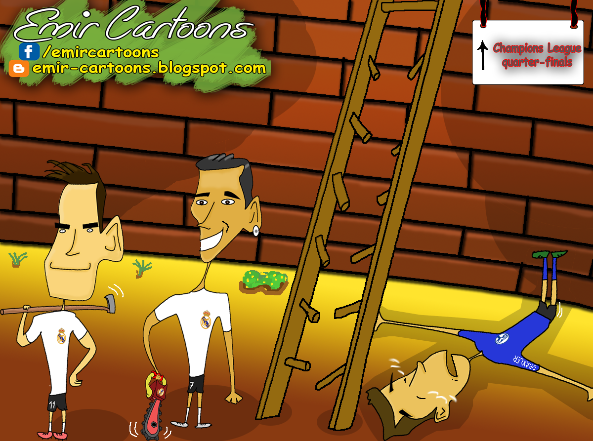 Schalke 1 - 6 Real Madrid , cartoon,karikature,fudbal,emir balkan cartoon,liga prvaka,benzema,ronaldo,bale