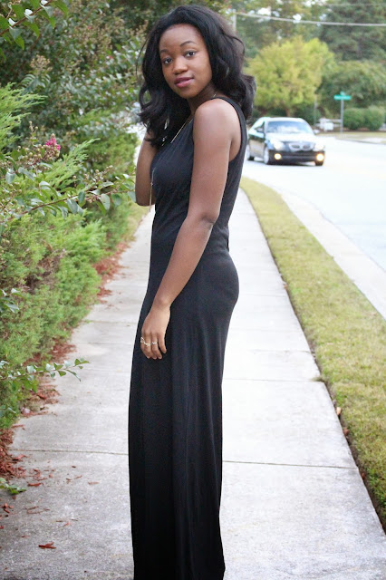 Ashley Udoh Black Maxi Dress With Cutouts
