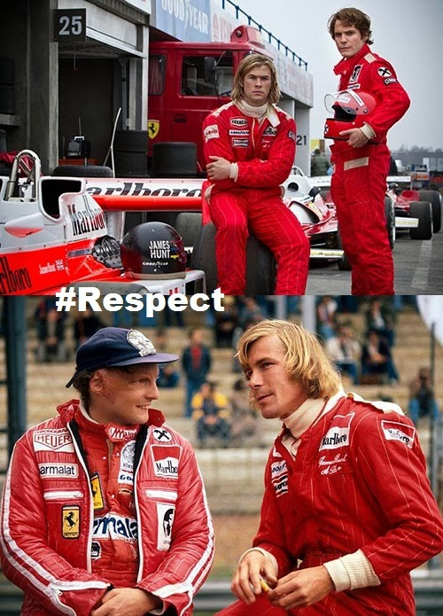 Rush 2013 Chris Hemworth and Daniel Bruhl vs. the real James Hunt and Niki Lauda