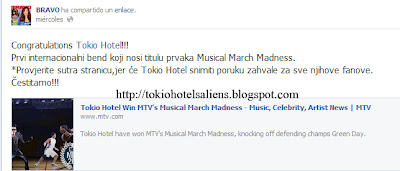 """Bravo """"Facebook"""" - Felicidades Tokio Hotel!!! TH's+Aliens"""