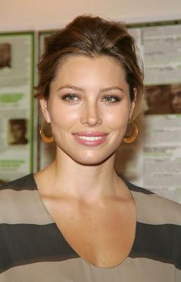Jessica Biel Gold Hoop Earrings