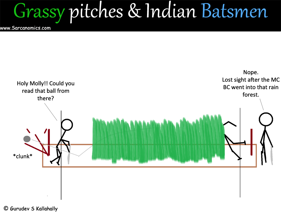 Indian cricket team, India, Cricket, grassy pitches, flat track bullies, Virat Kohli, MC BC, Sarcanomics, Webcomics, Comics
