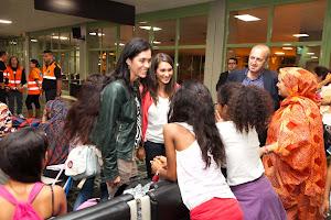 Despedida aos nenos saharauís en Lavacolla