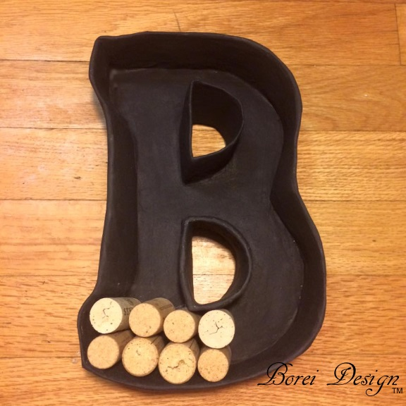 easy diy  how to make a paper mache monogram wine cork holder