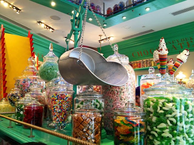 Brightly colored candy at Honeydukes Candy Store at the Wizarding World of Harry Potter