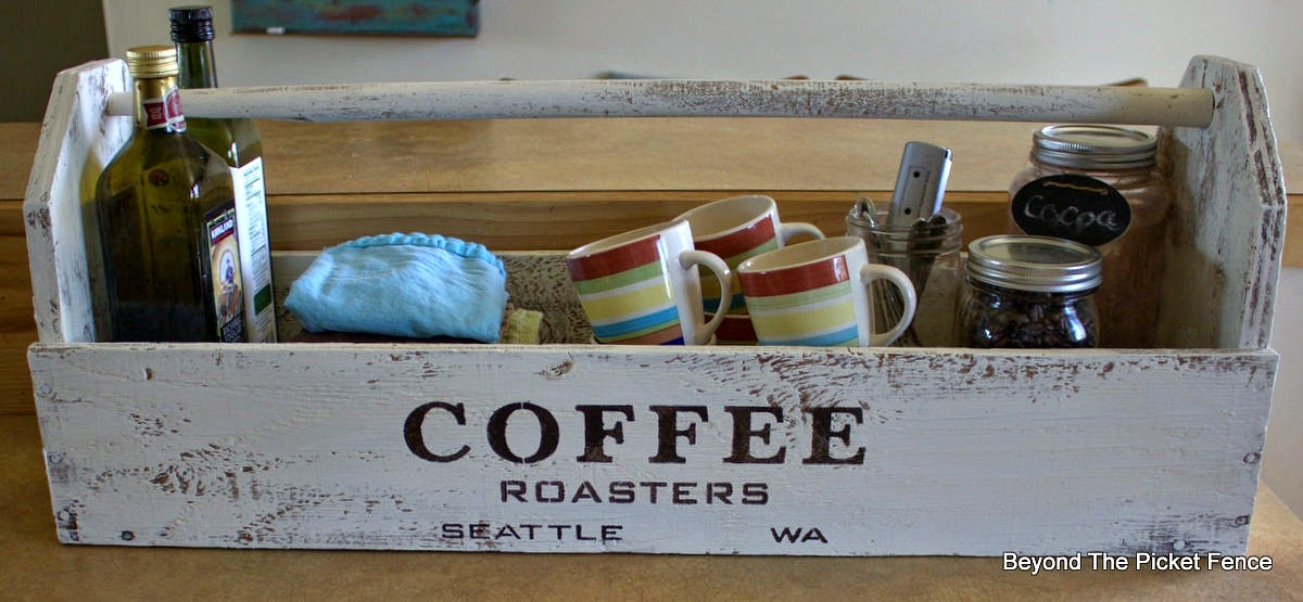 old sign stencils, coffee sign, toolbox, repurposed, paint, beyond the picket fence, http://bec4-beyondthepicketfence.blogspot.com/2015/04/coffee-toolbox.html