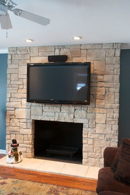 Cobble Stone Fireplace With TV Mortar Joint, Color Light Chateau Part 14