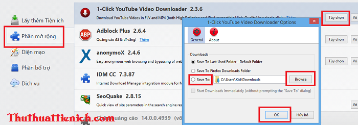 Tải video Youtube trên Firefox mọi định dạng với add-on 1-Click YouTube Video Download