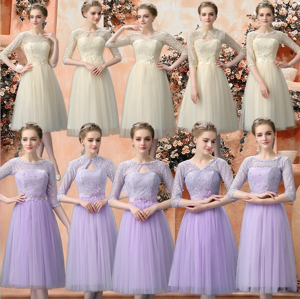 New 2015 Autumn Released Half Sleeve 5-Design Past Knee Length Bridesmaids Dress