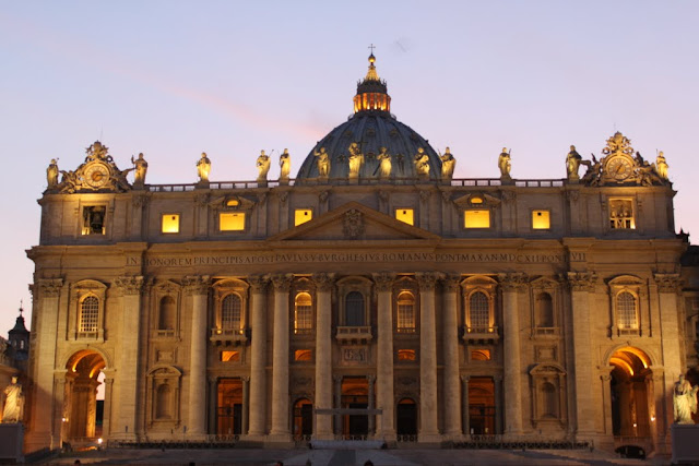 St Peter's Basilica was taken in the late evening in Vatican City, Rome, Italy