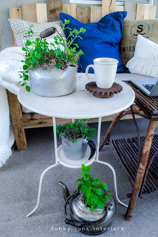 patio tables herb garden Funky Junk Interiors