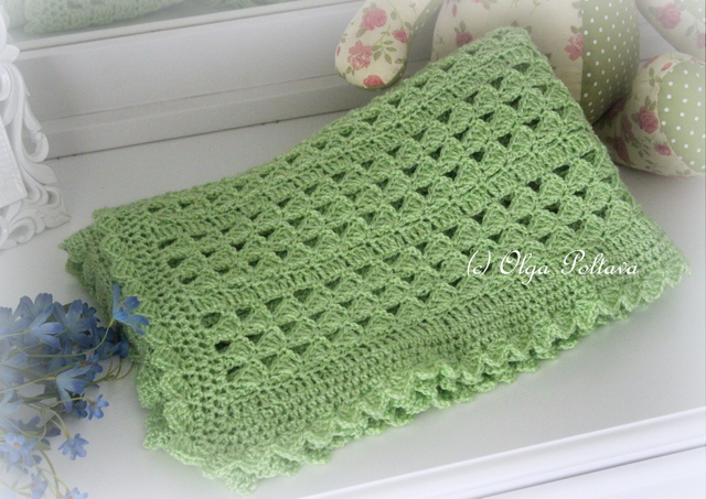 Free Crochet Pattern Lacy Baby Blanket : Lacy Crochet: Green Scallops Baby Blanket, My New Crochet ...