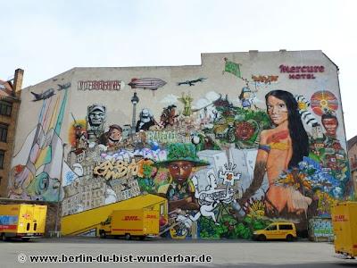 berlin, streetart, graffiti, Gebäude, interbrigadas, gleisdreieck, mercure, hotel, wand, wall