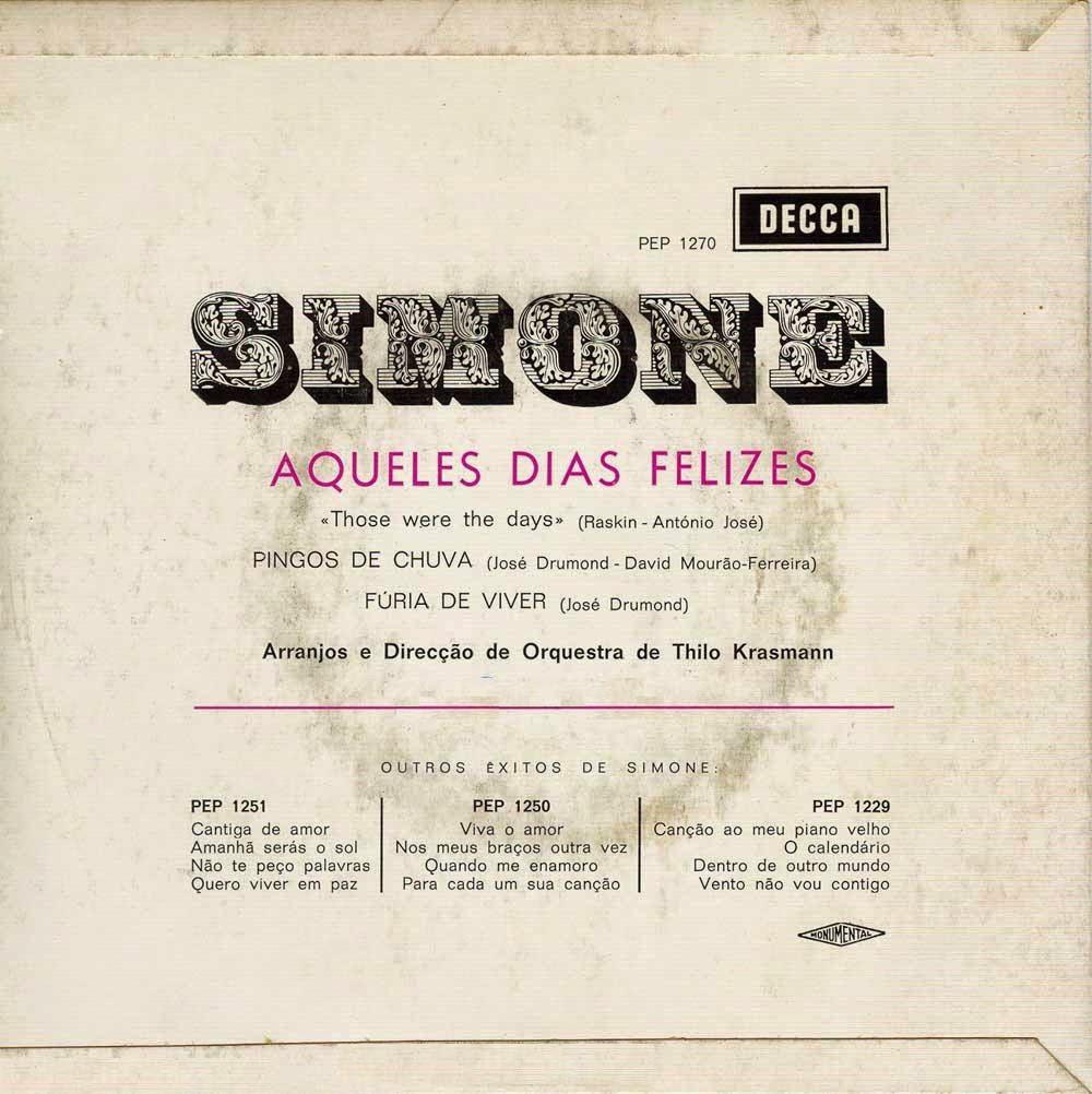 Simone de Oliveira - Aqueles Dias Felizes (Those Were The Days) (EP 1969) Back