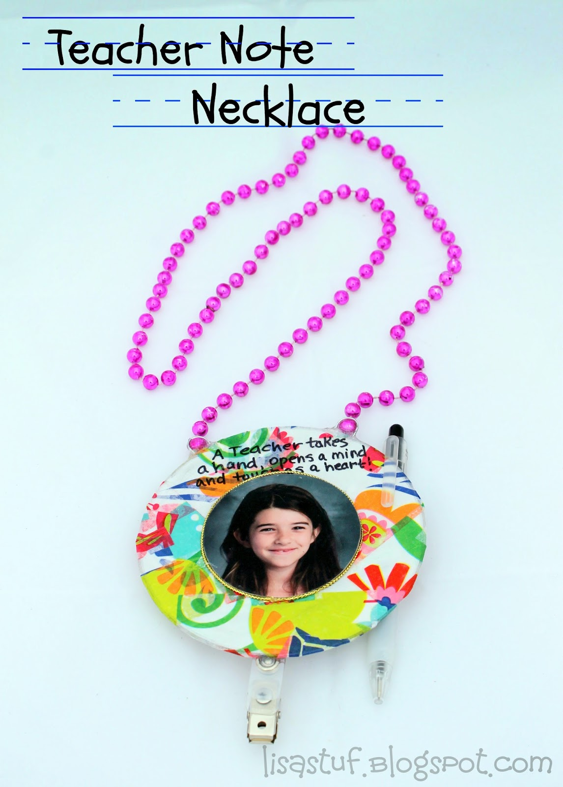 Teacher Note Necklace made from Upcycled CD-ROM
