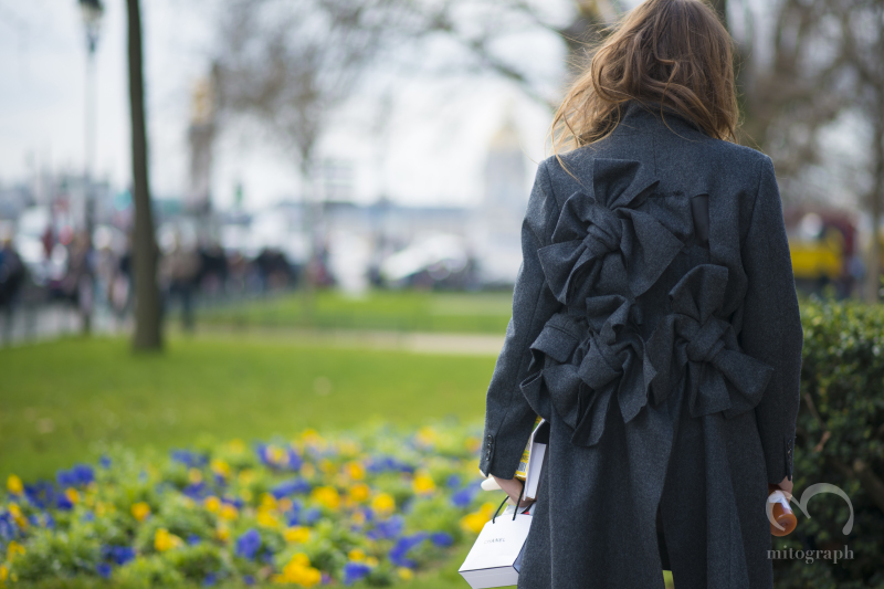 Carlotta Oddi wearing Comme Des Garcons coat during Paris Fashion Week 2014 Fall Winter PFW Season