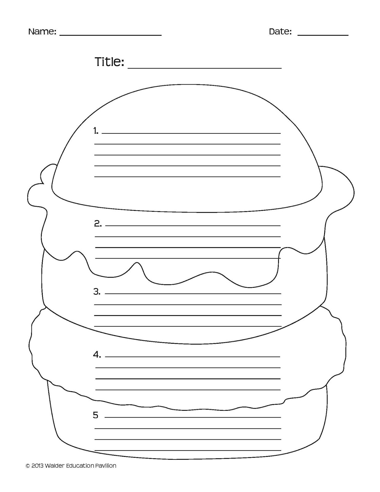 Hamburger essay worksheet