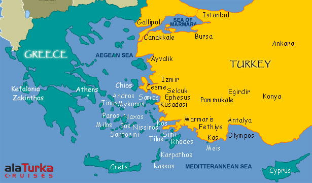maps of dallas: Map of Greece and Turkey