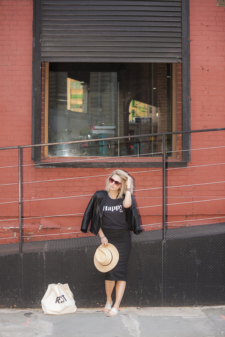 Brooklyn, New York, pinstripes & leather, straw hat, Vince sandals