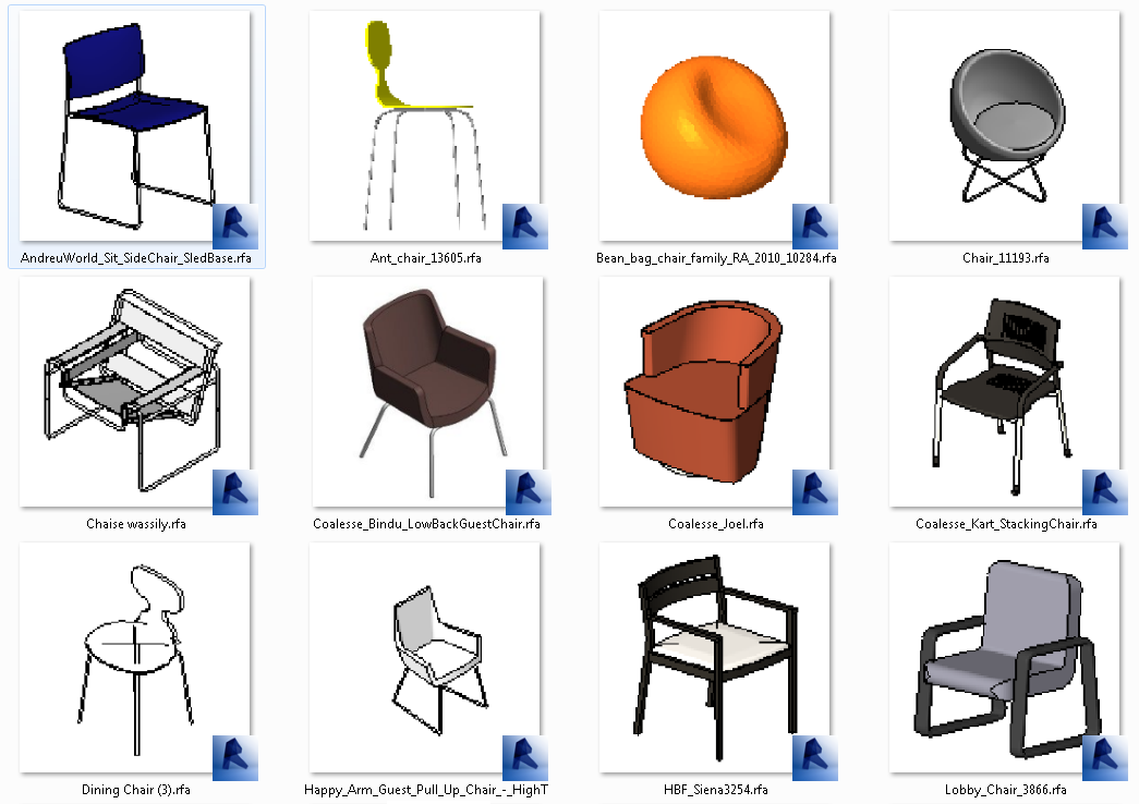 Familia de sillas rfa arquihoy revit for Sillas para 3d max