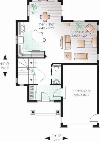proyecto de casa de niveles y dormitorios con garage en un rea de metros de frente por metros de fondo