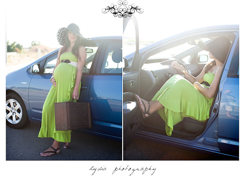 Lifestyle maternity portraits road trip theme at William Jessup University in Rocklin, California
