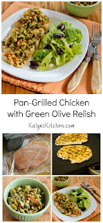 Pan-Grilled Chicken with Green Olive, Caper, and Lemon Relish [from KalynsKitchen.com]