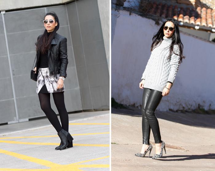 Jersey de ochos de Zara y pantalones de piel de Muubaa estilo rock femenino chic