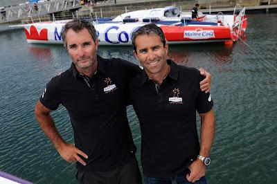 Jeremie Beyou et Philippe Legros sur la Transat Jacques Vabre.