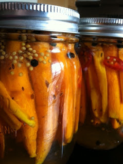 Canning Pickled Carrots with black peppercorns