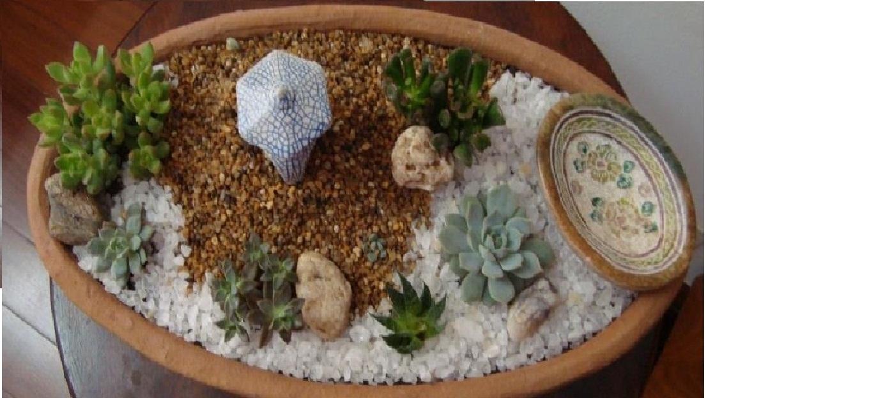 mini jardim oriental:Mini Jardim – Decoração Viva: Mini jardim japonês com bebedouro de