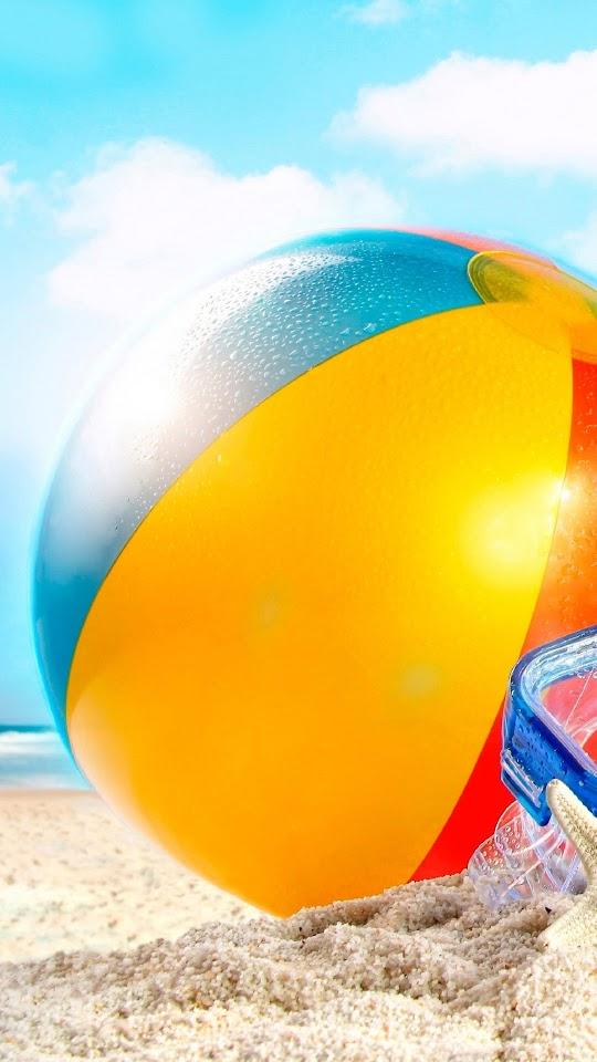 Beachball In Sand Summer  Galaxy Note HD Wallpaper