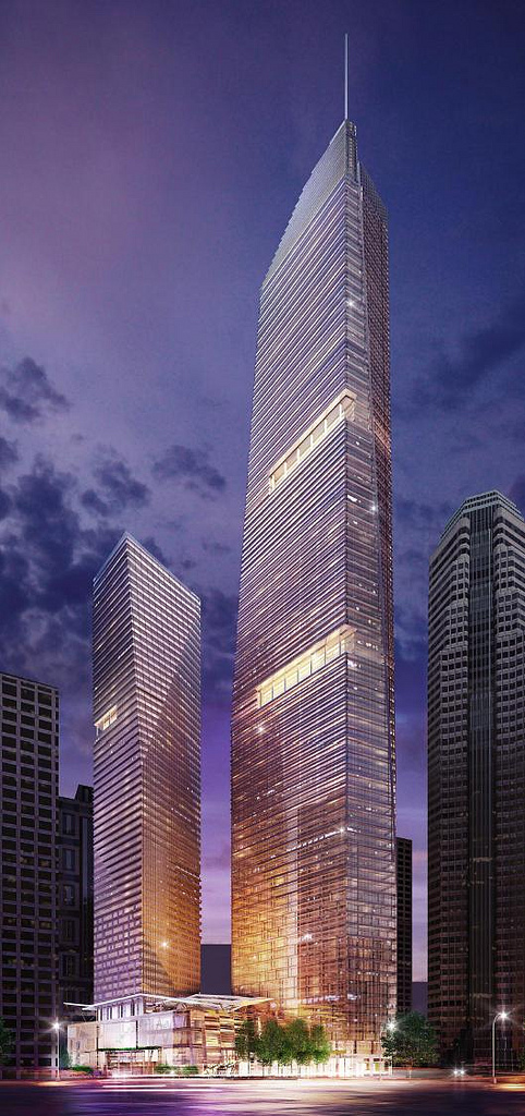 Rendering of 2 towers of Wilshire Grand by AC Martin Partners, Los Angeles, USA