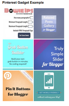 example of pinterest gadget on blogger