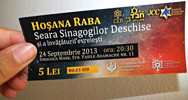bilet seara sinagogilor deschise