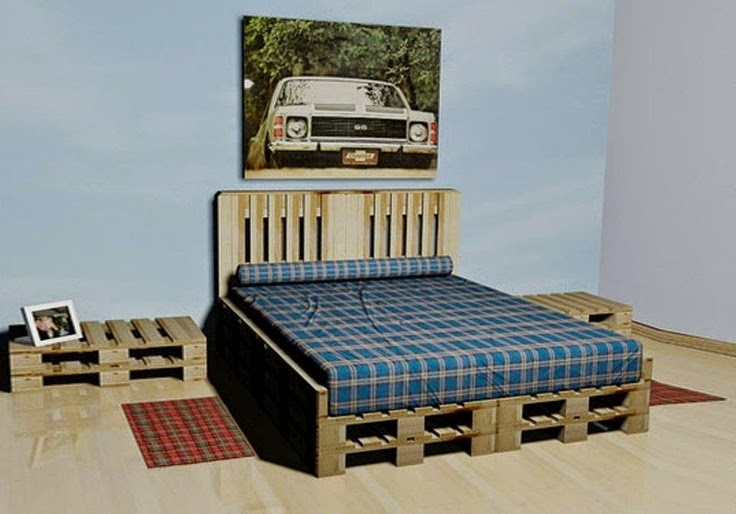 Rustic Charm And A Solid Bed Are The Result With This Easy Pallet Project.  It Would Be Easy To Adjust The Size For A Twin, Full Or King.