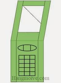 Bước 8:Vẽ nút bấm để hoàn thành cách xếp cái điện thoại gập bằng giấy theo phong cách origami.