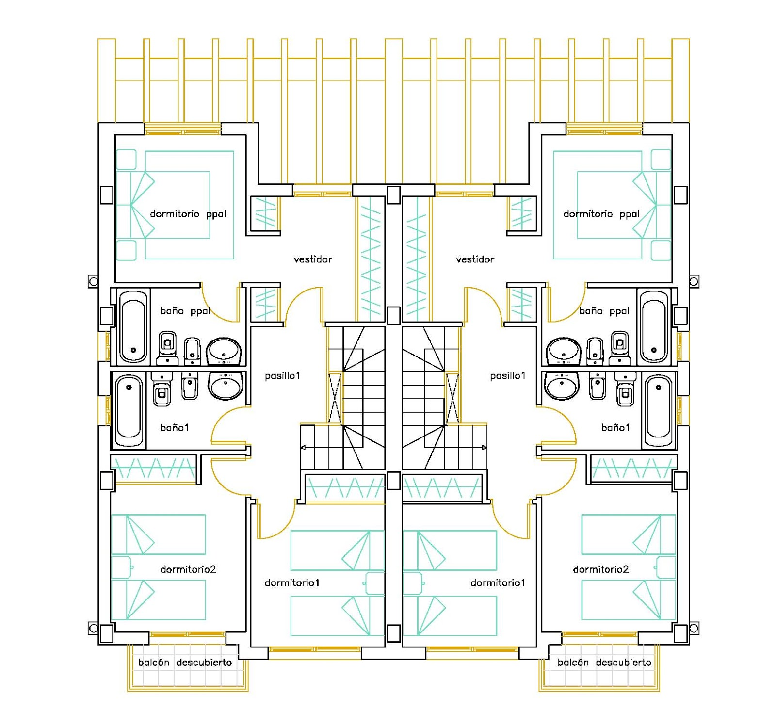 Planos low cost viviendas pareadas semi detached houses - Planos de casas pareadas ...