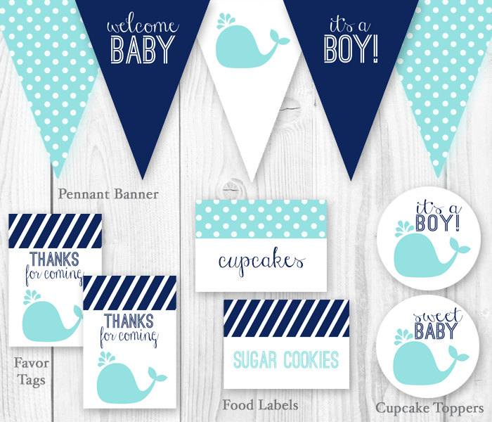 blue whale baby shower decorations