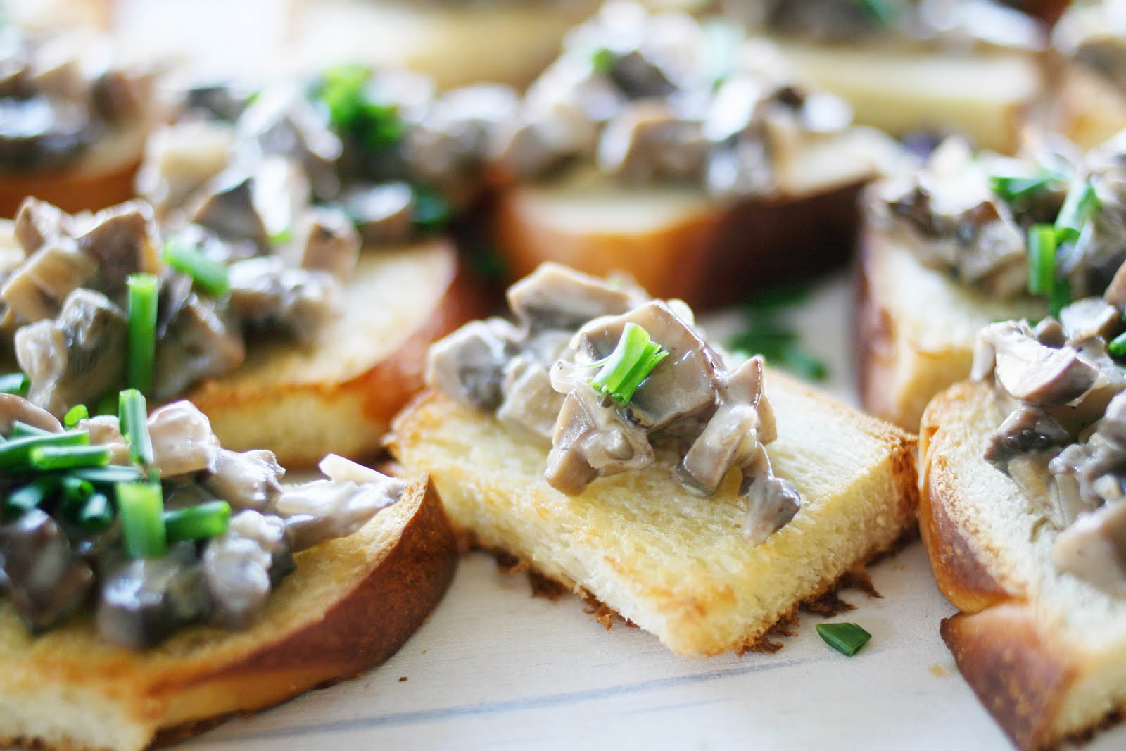 Creamed Mushrooms on Chive-Butter Toast