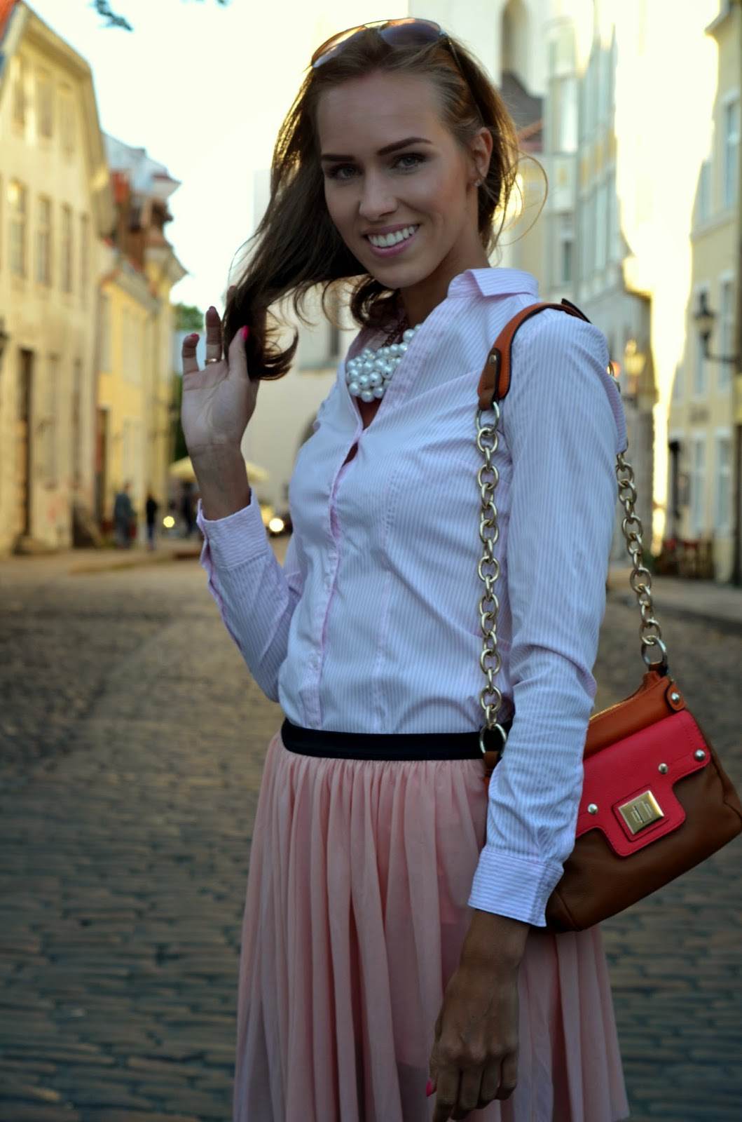 pearl necklace striped shirt global accessories bag pink skirt