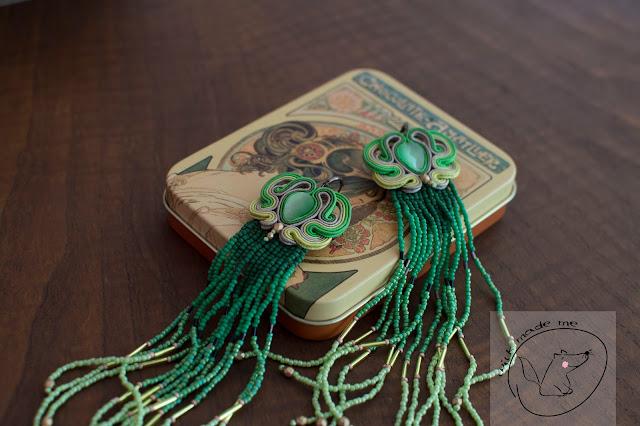 Zielone indiańce z sutaszem/Green Soutache Teasels