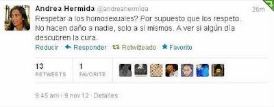 Tuit homófobo de Andrea Hermida (PP)