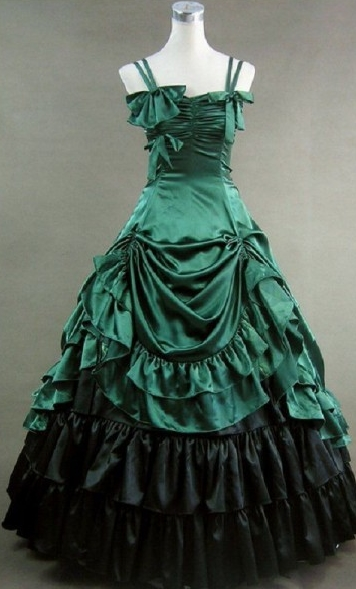 Green and Black Spaghetti Straps Bow and Ruffle Gothic Victorian Dress
