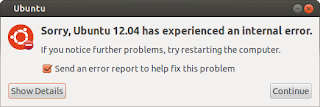 Sorry, Ubuntu 12.04 has experienced an internal error